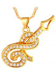 Guitar Faux Diamond Inlay Pendant Necklace -