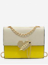 Chic Color Block Metallic Flapped Crossbody Bag -