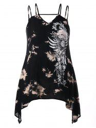 Plus Size Graphic Handkerchief Tank Top -