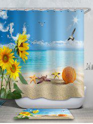 Seaside Sunflower Printed Waterproof Shower Curtain with Flannel Rug -