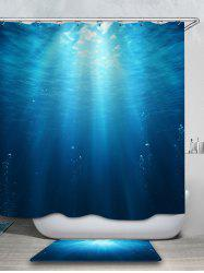 Seafloor Printed Waterproof Shower Curtain with Flannel Rug -