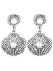 Faux Pearl Decoration Shell Shaped Drop Earrings -