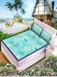 Nautical Print Faux Ice Silk Foldable Matting 3PCS -
