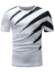 Two Tone Paint Print Short Sleeve T-shirt -