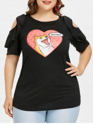 Dog Pattern Plus Size Cold Shoulder T-shirt -