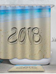 2018 Sand Beach Printed Waterproof Shower Curtain with Flannel Rug -