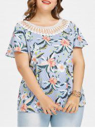 Plus Size Shredding Tropical Striped Top -