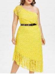 Plus Size Ruffle One Shoulder Midi Dress -