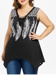 Plus Size Feather Print Lace-up Tank Top -