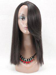 Long Flip Inclined Bang Straight Synthetic Wig -