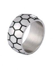 Unique Carved Checked Pattern Stainless Steel Ring -