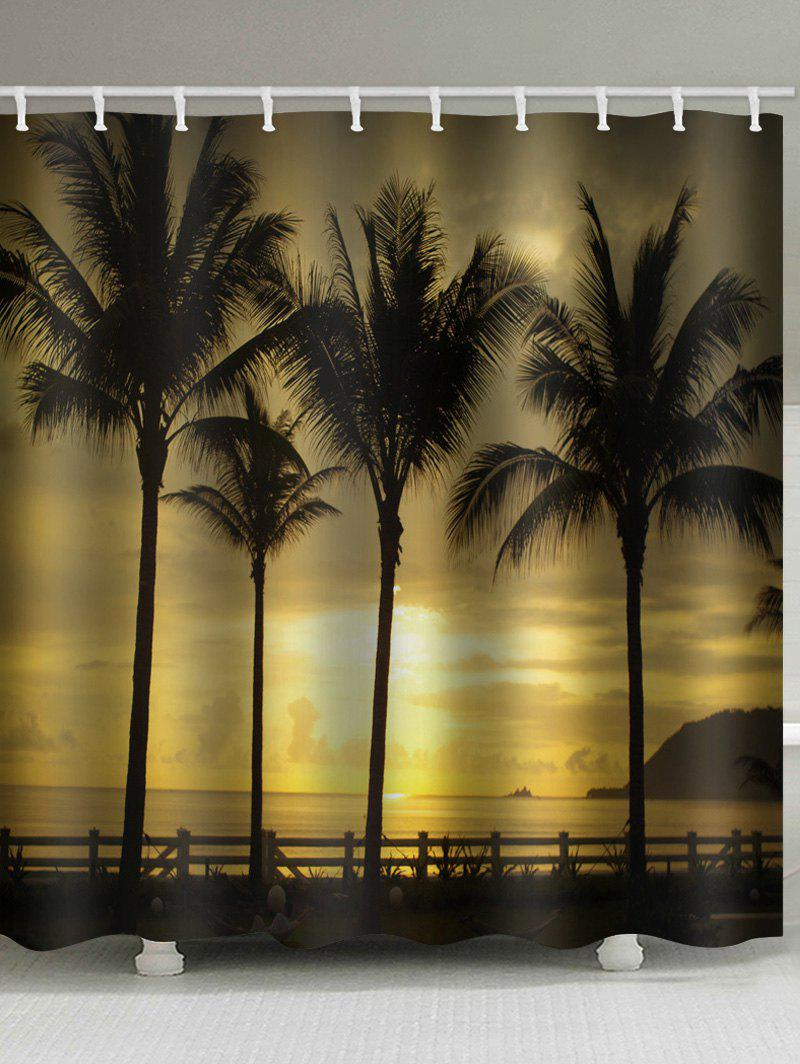 Hot Waterproof Sunset Seside Coconut Palms Scenery Printed Shower Curtain