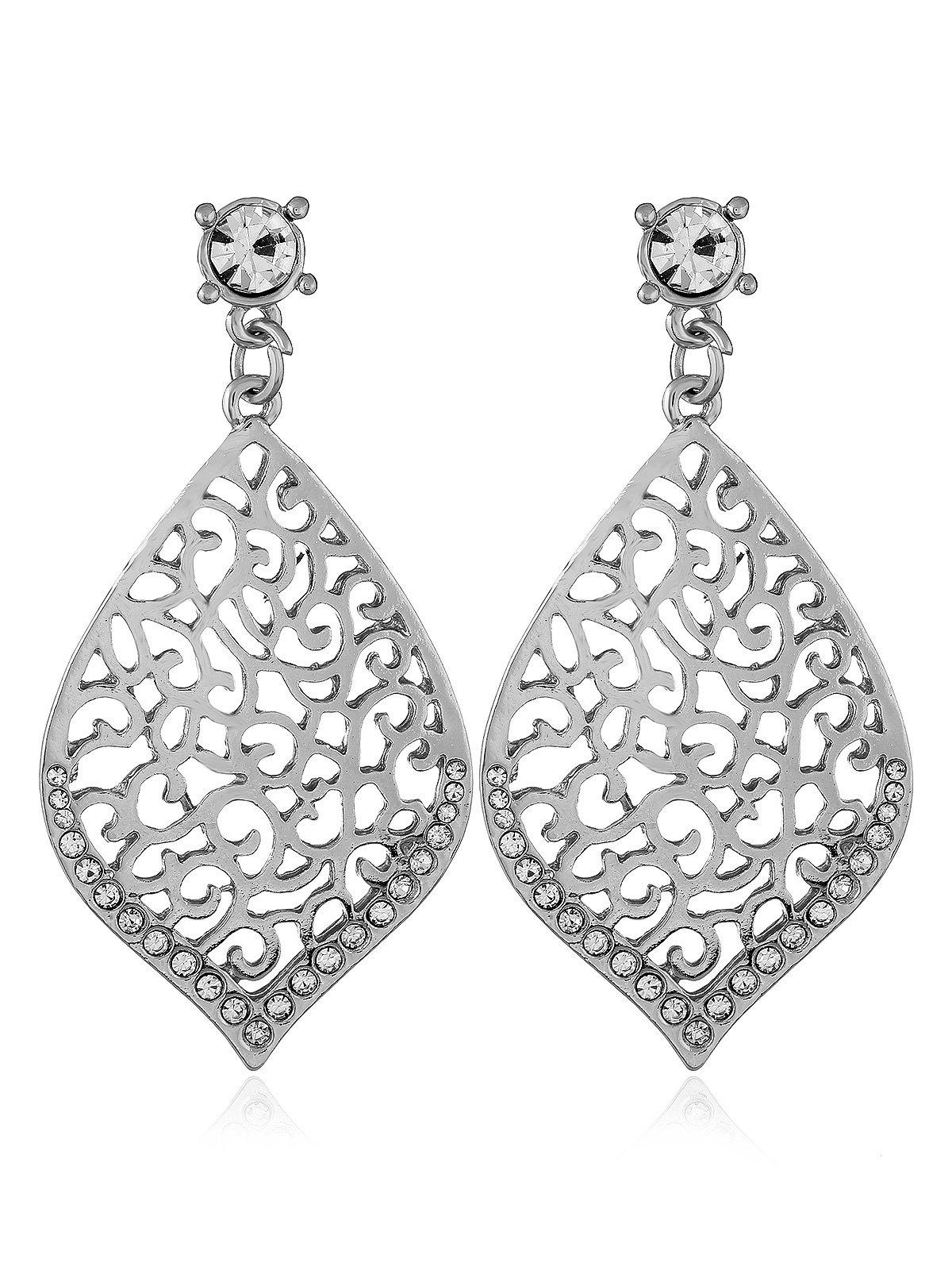 Trendy Filigree Openwork Rhinestone Stud Drop Earrings