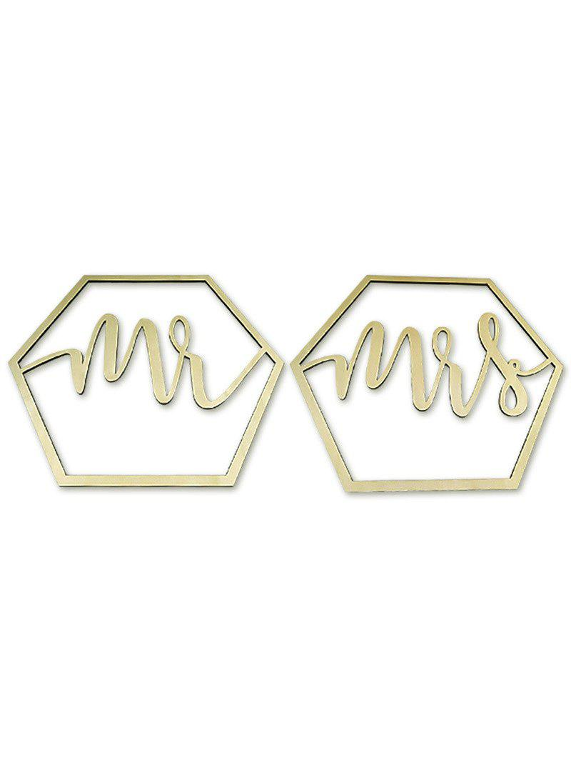 Online Hexagon Mr and Mrs Chair Signs Wooden Wedding Decor
