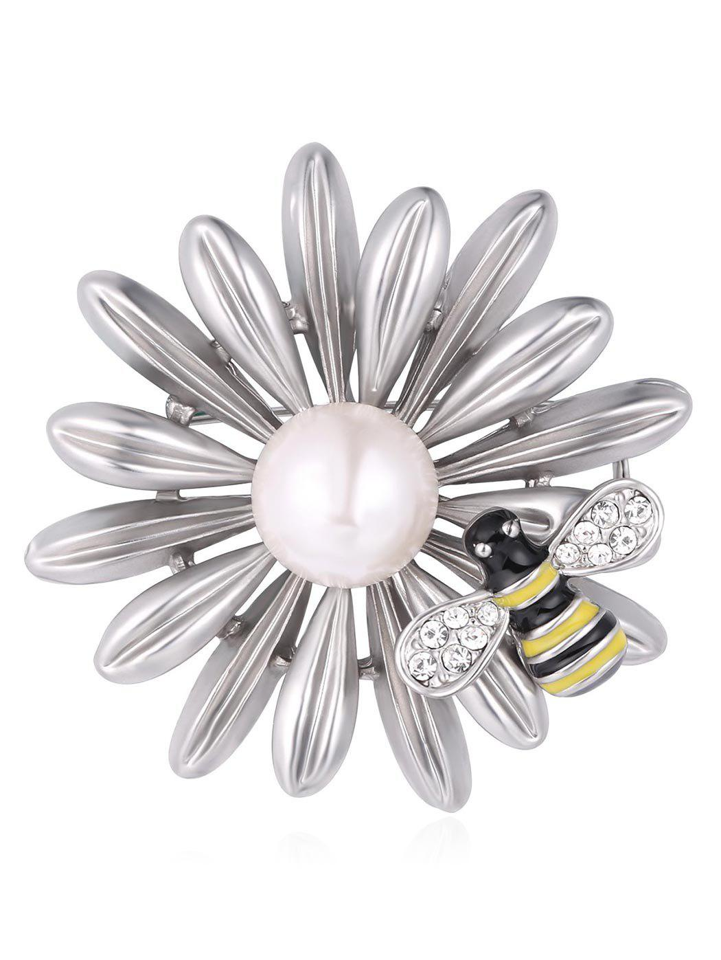 Online Synthetic Pearl Rhinestone Flower Bee Designed Brooch