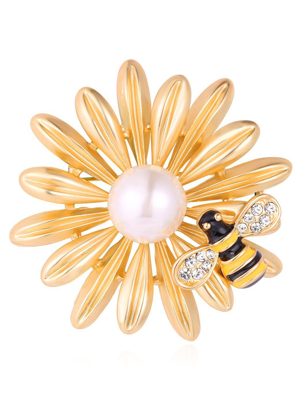 Cheap Synthetic Pearl Rhinestone Flower Bee Designed Brooch