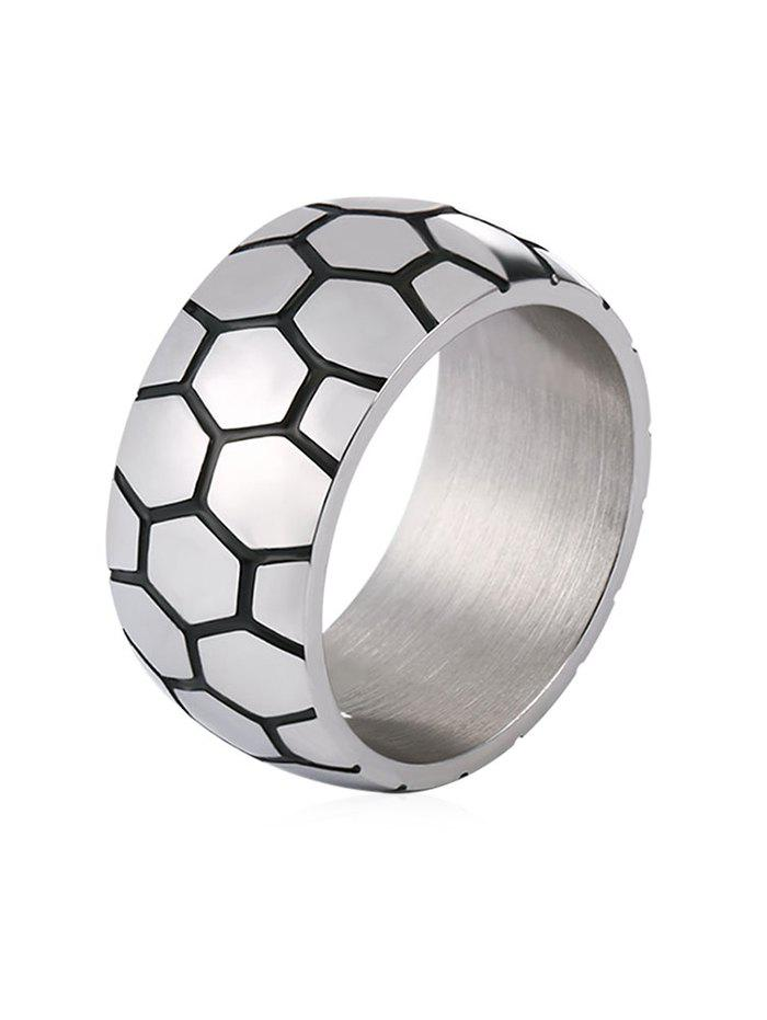 New Unique Carved Checked Pattern Stainless Steel Ring