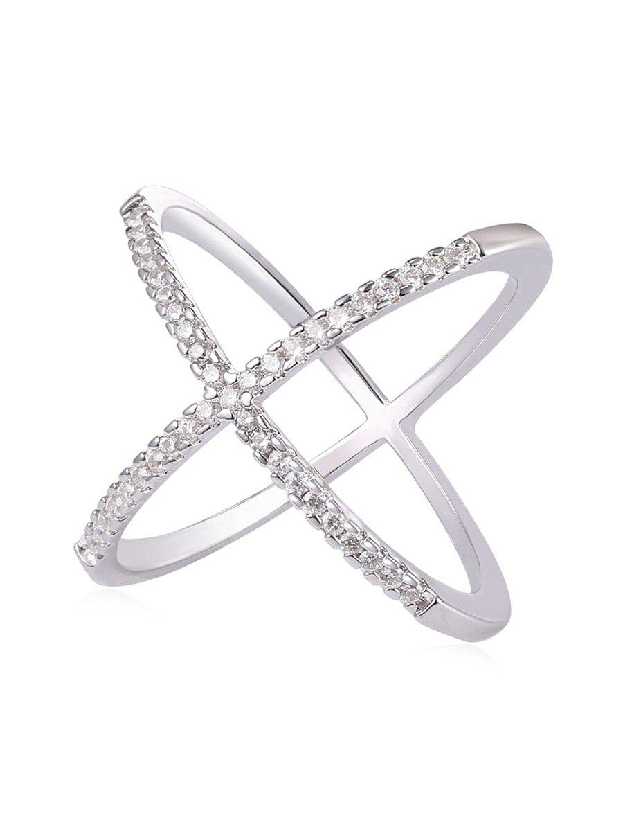 Hot Rhinestone Inlaid Criss Cross Gift Party Anniversary Ring