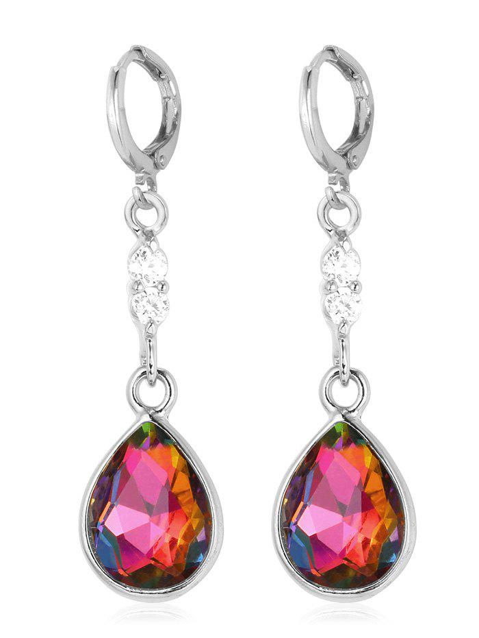 Outfit Rhinestone Faux Crystal Water Drop Design Hanging Earrings