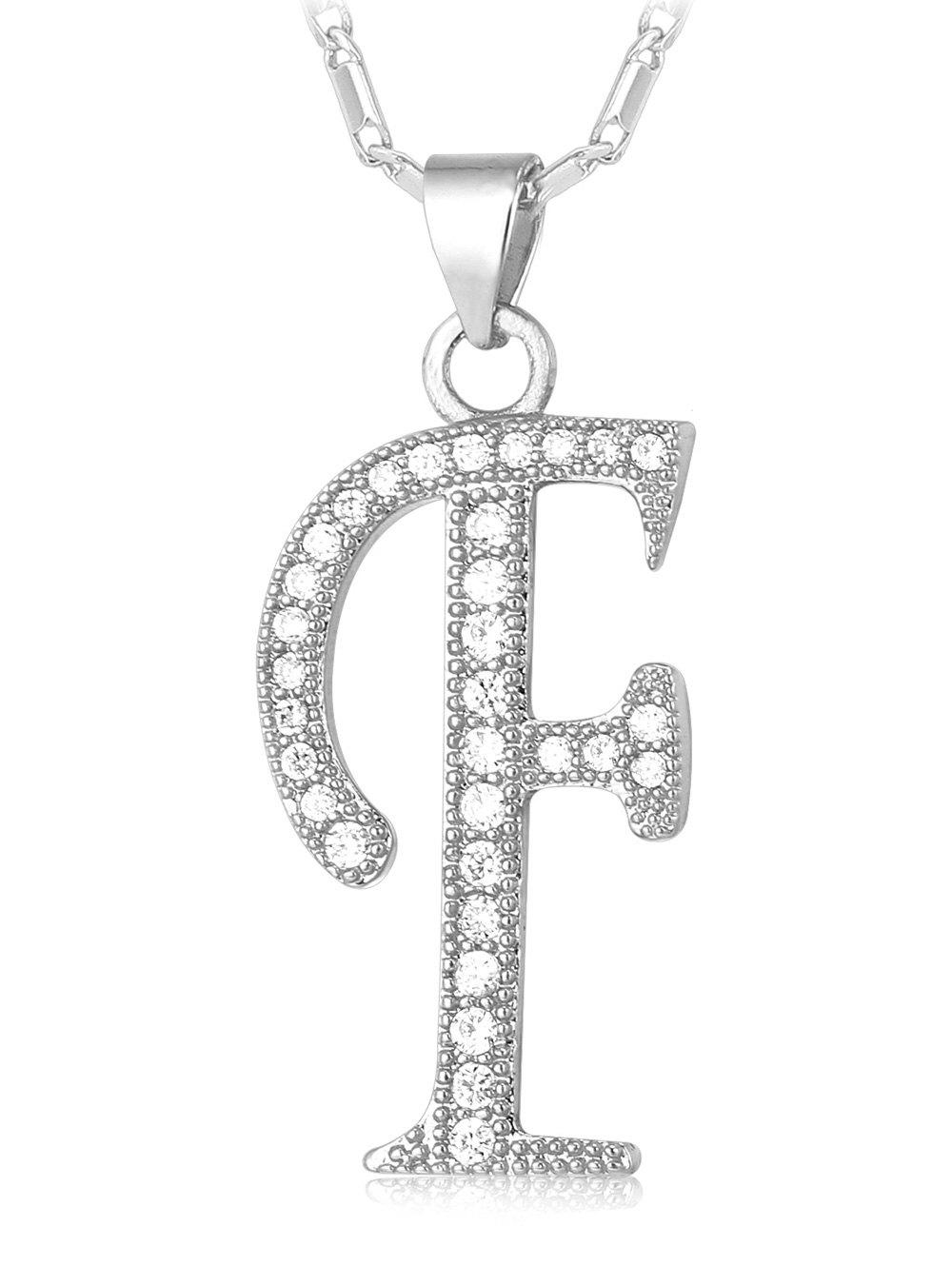 Affordable F Letter Faux Crystal Inlay Alloy Pendant Necklace