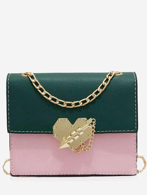 Sale Chic Color Block Metallic Flapped Crossbody Bag