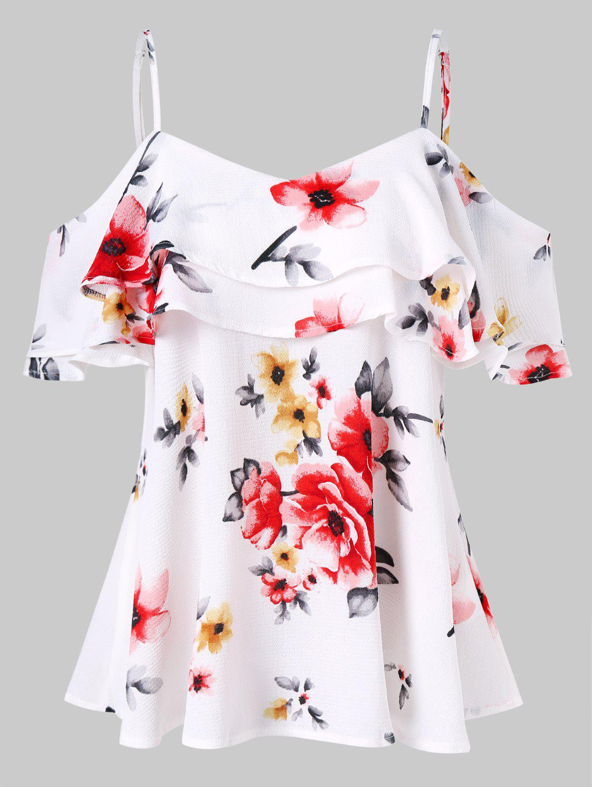 Affordable Spaghetti Strap Cold Shoulder Floral Blouse