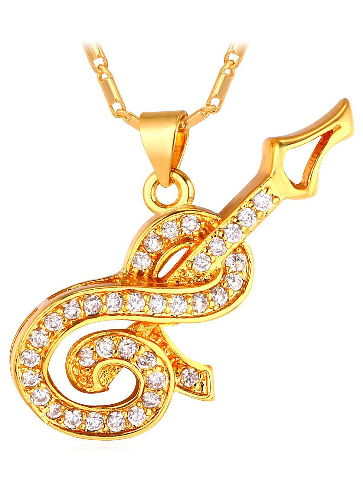 Cheap Guitar Faux Diamond Inlay Pendant Necklace
