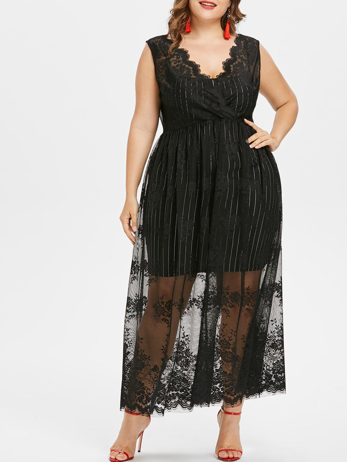 Fashion Plus Size Sleeveless Maxi Lace Dress