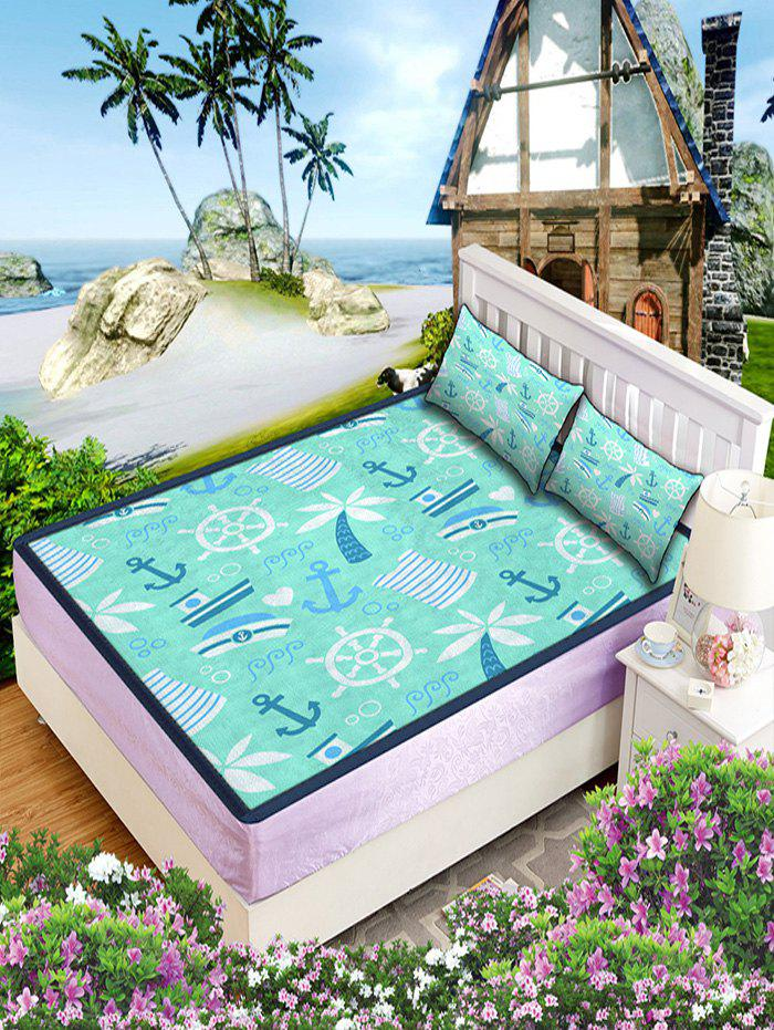 Affordable Nautical Print Faux Ice Silk Foldable Matting 3PCS