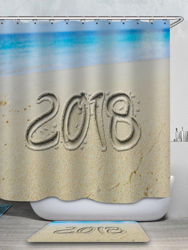 Online 2018 Sand Beach Printed Waterproof Shower Curtain with Flannel Rug