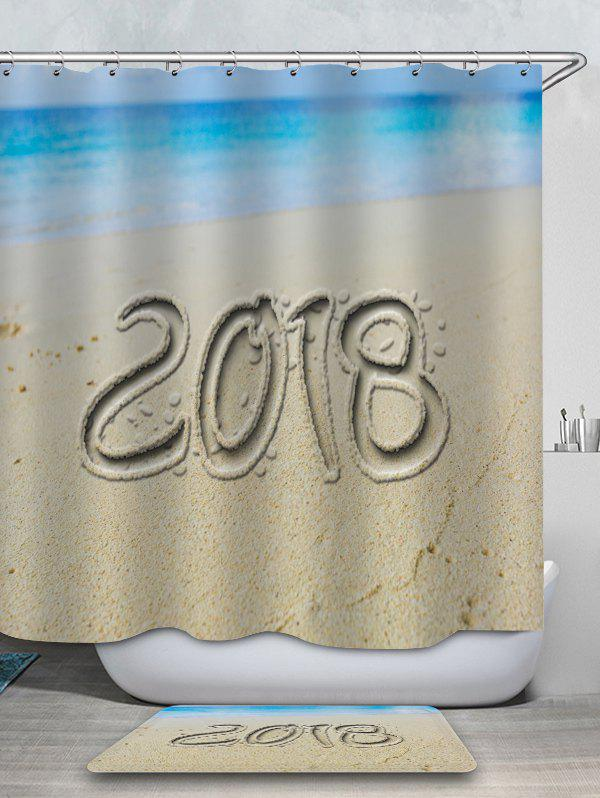 Unique 2018 Sand Beach Printed Waterproof Shower Curtain with Flannel Rug