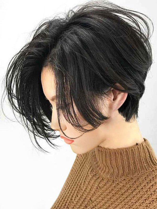 Chic Short Center Parting Straight Bob Lace Front Human Hair Wig