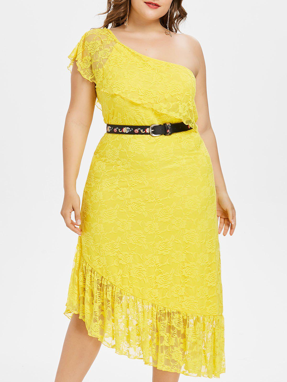 Fashion Plus Size Ruffle One Shoulder Midi Dress