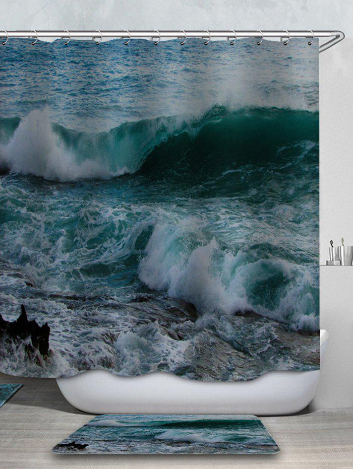 Chic Sea Wave Printed Waterproof Shower Curtain with Flannel Rug