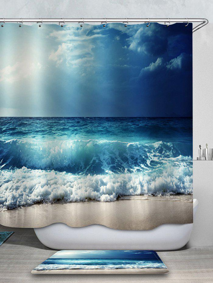 Discount Beach Sea Wave Printed Waterproof Shower Curtain with Flannel Rug