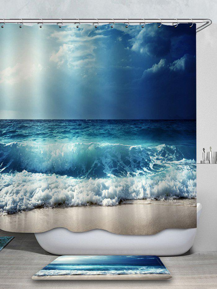 Fancy Beach Sea Wave Printed Waterproof Shower Curtain with Flannel Rug