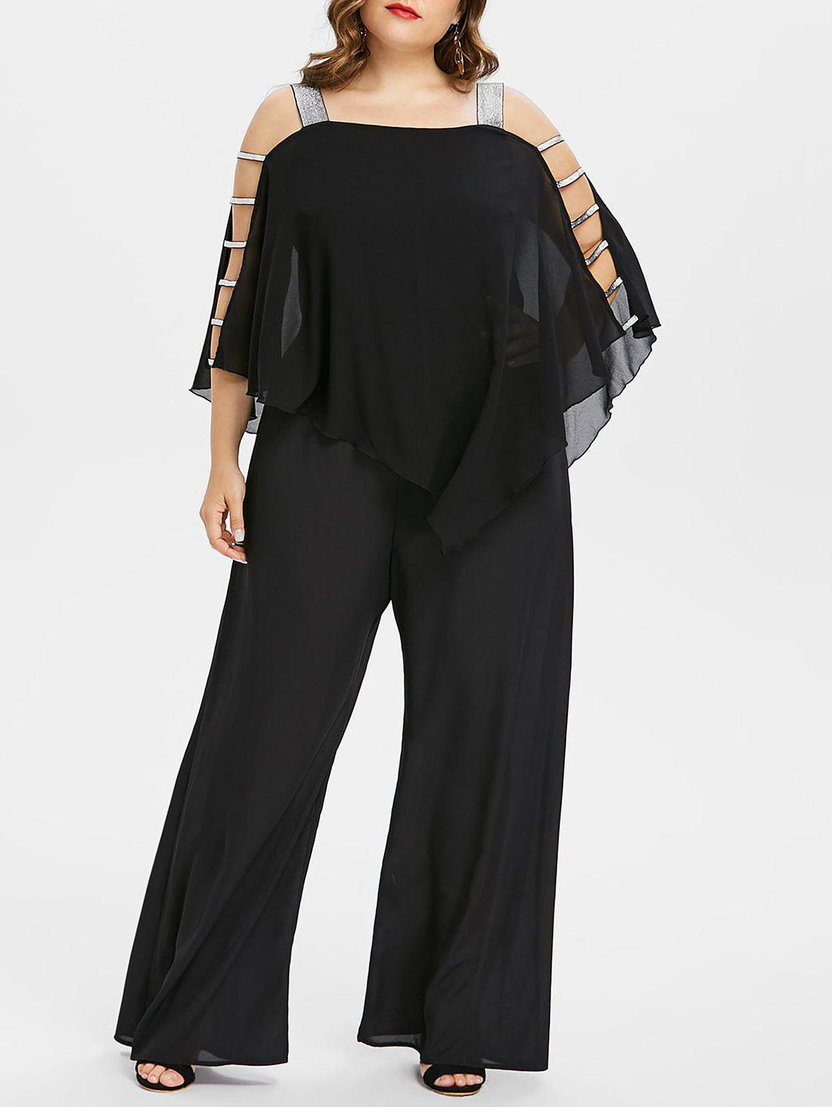 Discount Ladder Cut Out Plus Size Asymmetrical Jumpsuit