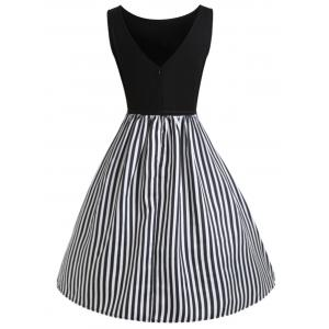 Vertical Stripe Sleeveless Casual Dress -