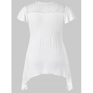 Plus Size Lace Trim Crescent Hem T-shirt -