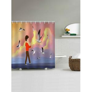 Sea Gull Inbetweening Printed Waterproof Shower Curtain -