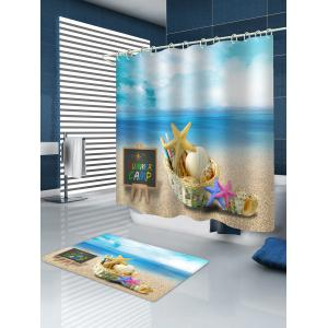 Seaside Starfish Printed Waterproof Shower Curtain with Flannel Rug -