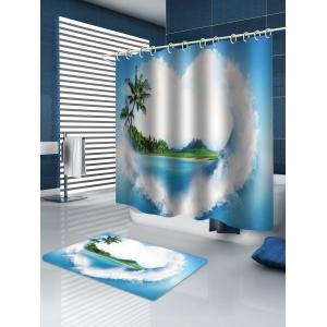 Love Heart Island Waterproof Shower Curtain and Flannel Rug -