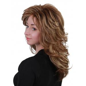 Long Oblique Bang Layered Colormix Slightly Curly Human Hair Wig -