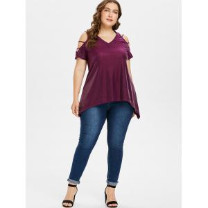 Plus Size Shredded Cold Shoulder Glitter T-shirt -