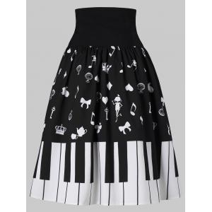 Piano Key Print High Waist Skirt -