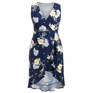 Plus Size Sleeveless High Low Floral Dress -