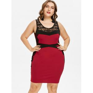 Plus Size Sheer Lace Panel Knee Length Fitted Dress -