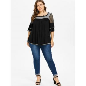 Plus Size Square Neck Tiered Sleeve T-shirt -