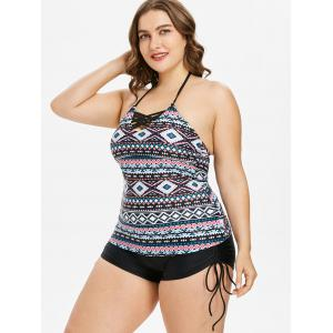 Plus Size Tribal Print Cinched Tankini Set -