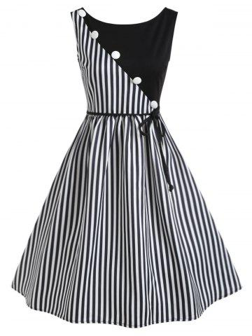 Outfit Vertical Stripe Sleeveless Casual Dress